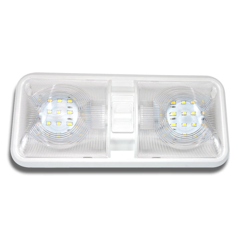 Led double dome light ceiling fixture leisure rv parts leisure rv double dome light fixture comes with two t10 wedge panels 2 x 275 lumens led arubaitofo Images