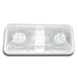 Double Dome Light Fixture comes with two T10 Wedge panels 2 x 275 Lumens, LED Bulb Built in 2-way switch (to use one or both sides of light fixture) Applications include 12 Volts DC recreational vehicles. Color Temperature : 4000-4500K Natural White 2 x 24 High power Wedge style 2835 SMD LEDs 60,000 hour life expectancy. Last many times longer than standard light bulb Dimensions: 11 1/4″L x 5″W x 2″H