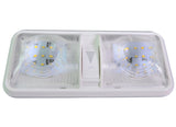 LED Double Dome Light Ceiling Fixture with Built in Dimmer