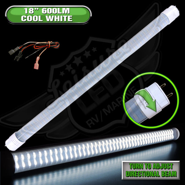 "Bright 600 Lumens, T8 Base 18"" Led Tube Replacement Made with Environment-friendly technology and materials Wide Voltage Range : 8 – 30 volts Applications include 12 Volts DC recreational vehicles."