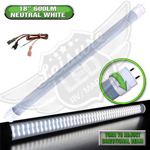 "Bright 600 Lumens, T8 Base 18"" Led Tube Replacement  · Made with Environment-friendly technology and materials  · Wide Voltage Range : 8 – 30 volts  · Applications include 12 Volts DC recreational vehicles.  · RV fluctuations can damage a regular LED. This LED is designed to withstand a wide operating voltage range."