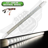 Bright 400 Lumens, T5 Base 12″ LED Tube Replacement Made with Environment-friendly technology and materials Wide Voltage Range : 8-30 Volt DC Applications include 12 Volts DC recreational vehicles RV fluctuations can damage a regular LED. This LED is designed to withstand a wide operating voltage range. Beam pattern : 120 degrees Color Temperature : 4000-4500K Neutral White 27 High Power 2835 SMD LEDs