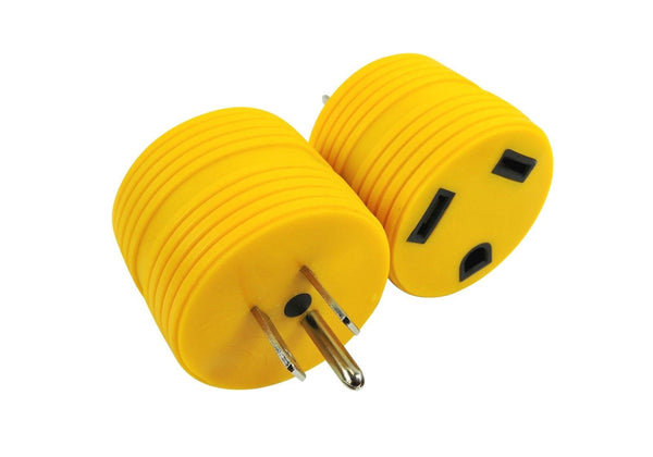 Long lasting PVC molded assembly with solid brass thru contacts which prevents electrical adapter burn outs. Mates 30 amp Female power cable to 15 amp Male service. Contoured shape for easy removal from outlet