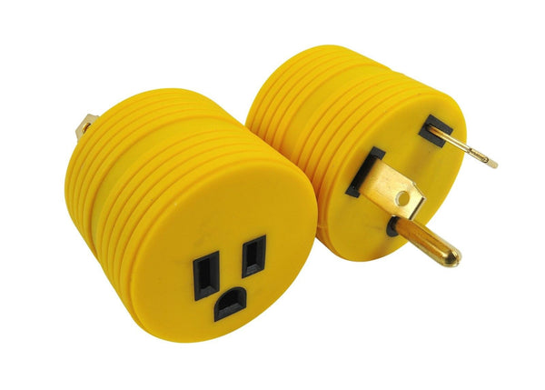 Long lasting PVC molded assembly with solid brass thru contacts which prevents electrical adapter burn outs. Mates 30 amp male power cable to 15 amp Female service. Contoured shape for easy removal from outlet