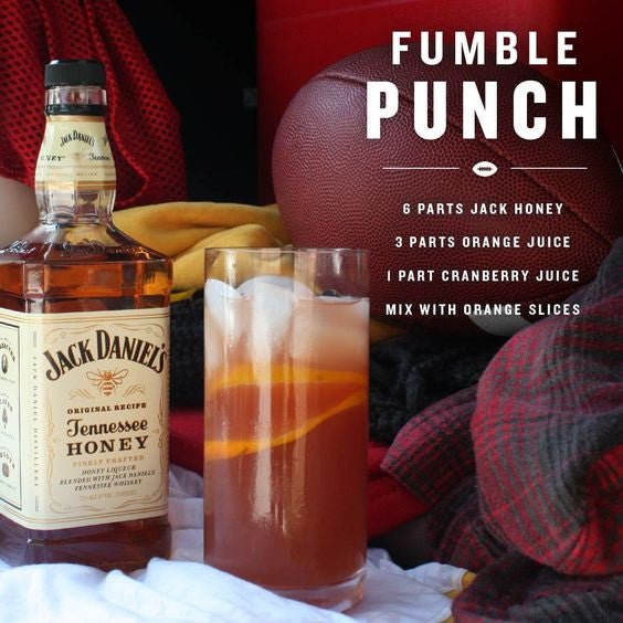 Fumble Punch Jack Daniel's Tennesse Honey Whiskey Cocktail Recipe