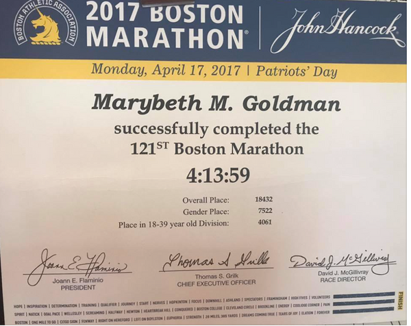 Boston Marathon---well its official