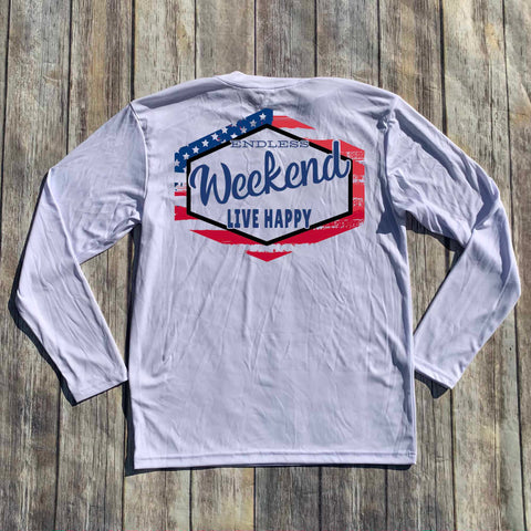 US FLAG SHIELD LONG SLEEVE CREW NECK SUN SHIRT
