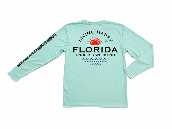 Mens Living Happy Florida Long Sleeve Sun-Shirt SPF50