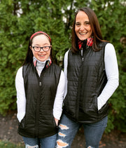 Black Puffer Vest with Plaid Collar