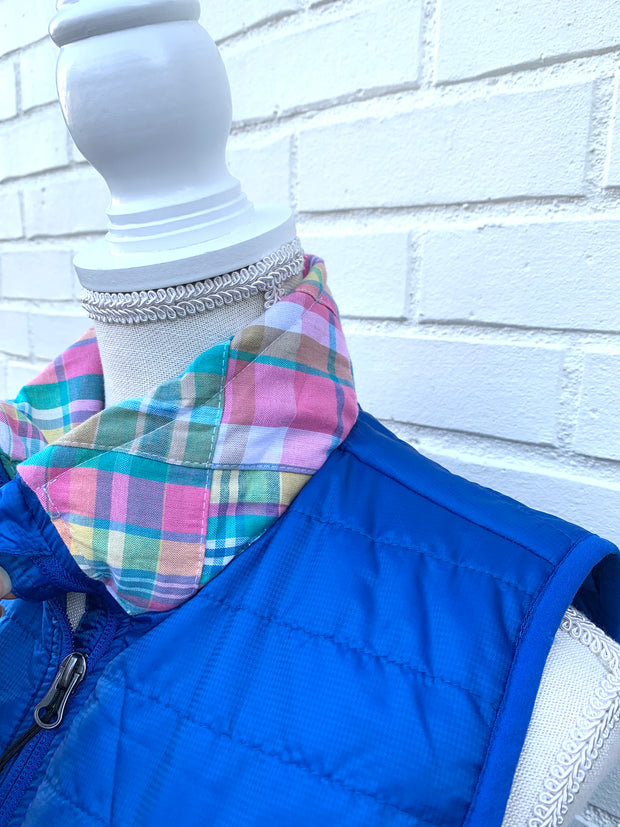 Royal Puffer Vest with Madras Collar