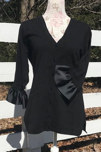 Black Wednesday Cardigan with Black Grosgrain 3/4 Sleeve - (WCBlack-Black)