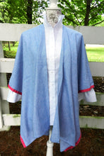 Load image into Gallery viewer, Cotton Cape in Denim with Pink Ribbon