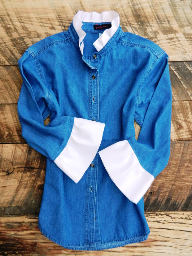 Lt Denim Shirt with White Ribbon