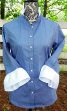 Load image into Gallery viewer, Oxford Navy Blue Shirt with White Ribbon (ORNavy-White)