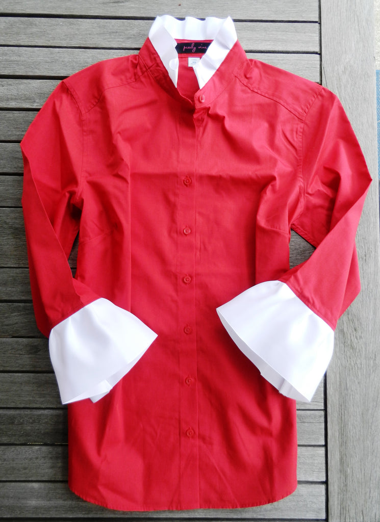 Ribbon Trimmed Red Shirt with White  (S34RR-White)