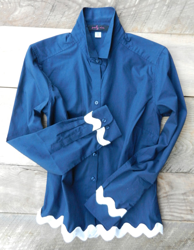 Ric Rac Navy Shirt with White (RRNavy-White)