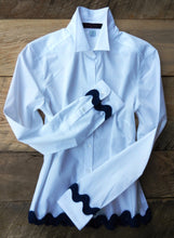 Load image into Gallery viewer, Ric Rac White Shirt with Navy (RRWhite-Navy)