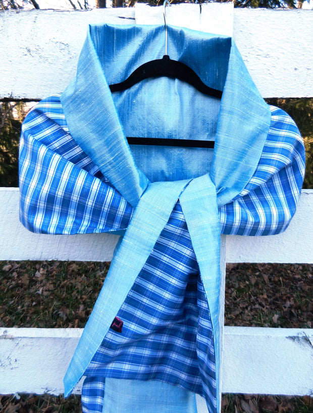 Silk Wrap in Blue Check with Ice Blue (LW59)