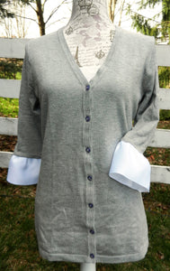 Grey Wednesday Cardigan with White Grosgrain 3/4 Sleeve - (WCGrey-White)