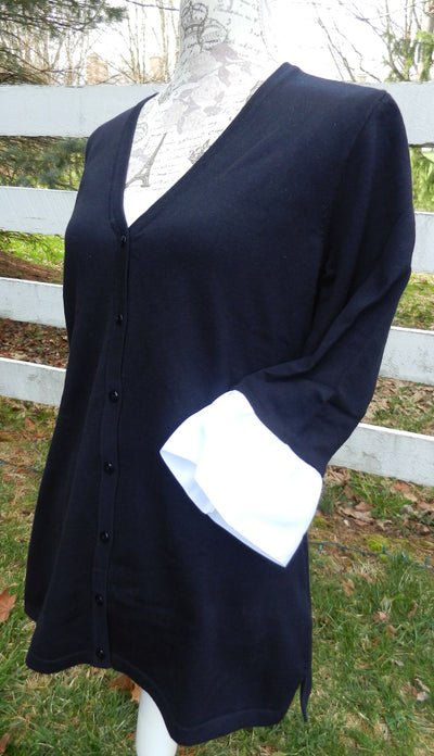 Navy Wednesday Cardigan with White Grosgrain 3/4 Sleeve - (WCNavy-White)
