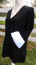 Load image into Gallery viewer, Black Wednesday Cardigan with White Grosgrain 3/4 Sleeve - (WCBlack-White)