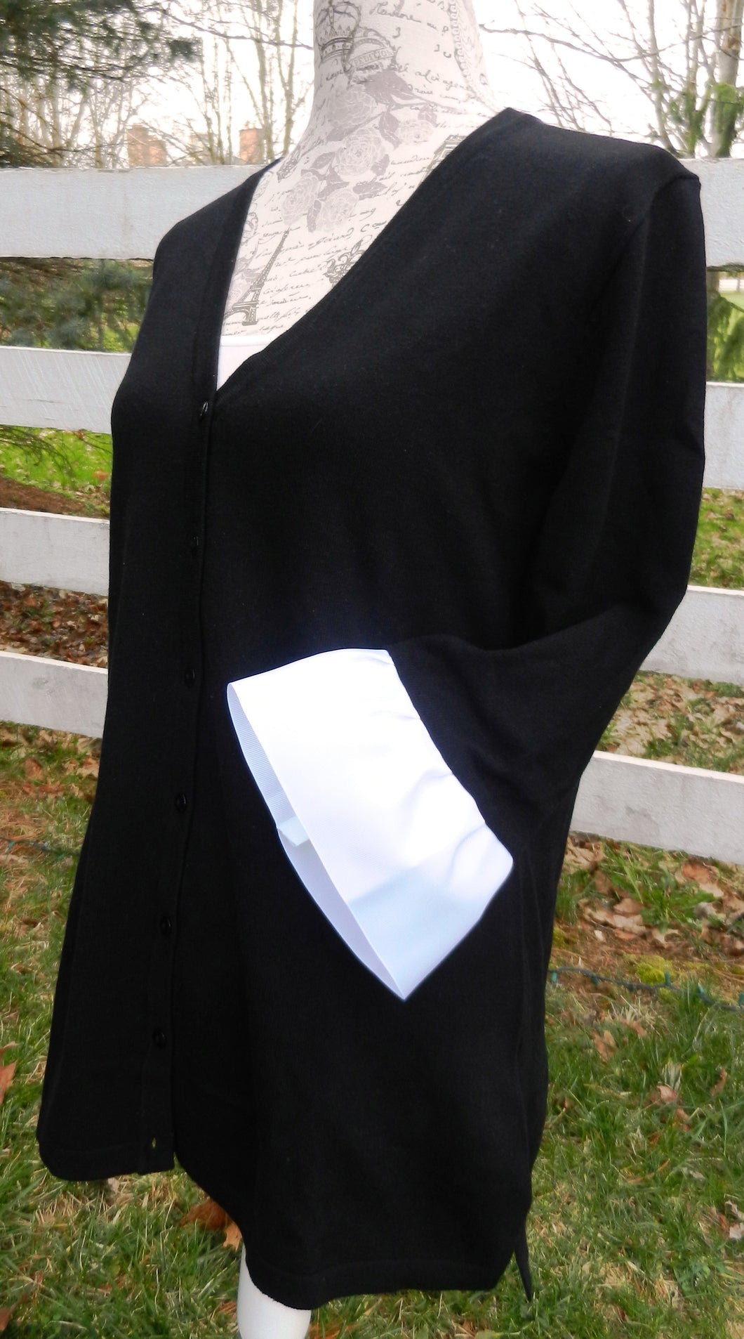 Black Wednesday Cardigan with White Grosgrain 3/4 Sleeve - (WCBlack-White)