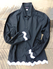 Ric Rac Black Shirt with White (RRBLack-White)