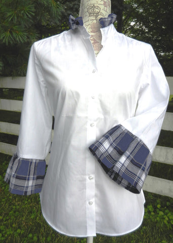 Tally Ho White Shirt with Navy Flannel Plaid  (TH08)