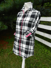 Load image into Gallery viewer, Saturday Tunic Black and White Plaid w Pink Ribbon (SAT-Pink)