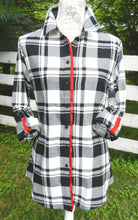Load image into Gallery viewer, Saturday Tunic Black and white Plaid w Red Ribbon (SAT-RED)