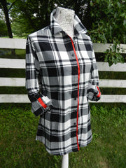Saturday Tunic Black and white Plaid w Red Ribbon (SAT-RED)