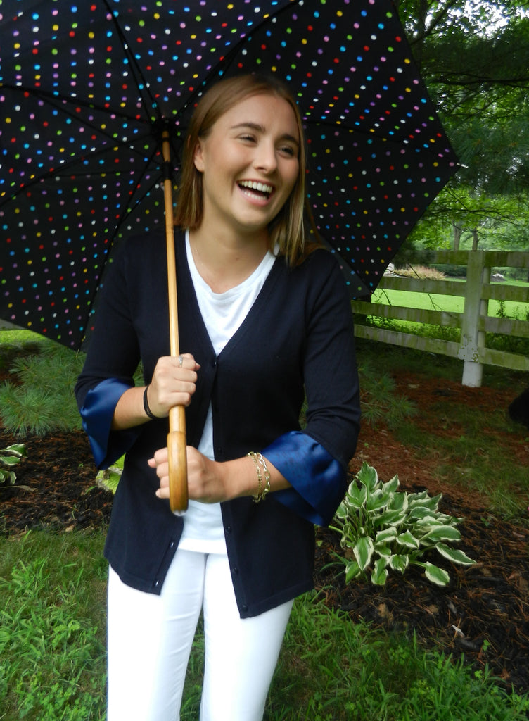 Navy Wednesday Cardigan with Navy Grosgrain 3/4 Sleeve - (WCNavy-Navy)