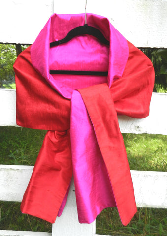 Silk Wrap in Red and Hot Pink