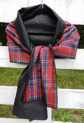Silk Wrap in Black and Red Plaid