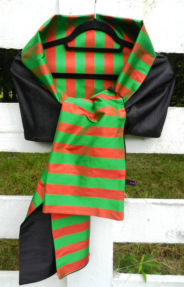 Silk Wrap in Red Green Stripe and Black (LW07)