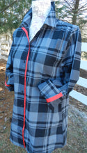 Load image into Gallery viewer, Saturday Tunic Grey Plaid w Red Ribbon (SAT Grey-Red)