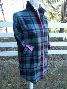 Saturday Tunic Grey Plaid w Pink Ribbon (SAT Grey-Pink)