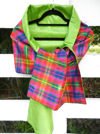 Silk Wrap in Vibrant Plaid / Lime Green (LW84)
