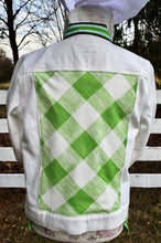 Load image into Gallery viewer, White Denim Jacket w Green Trim ( DWJ 02-Green)