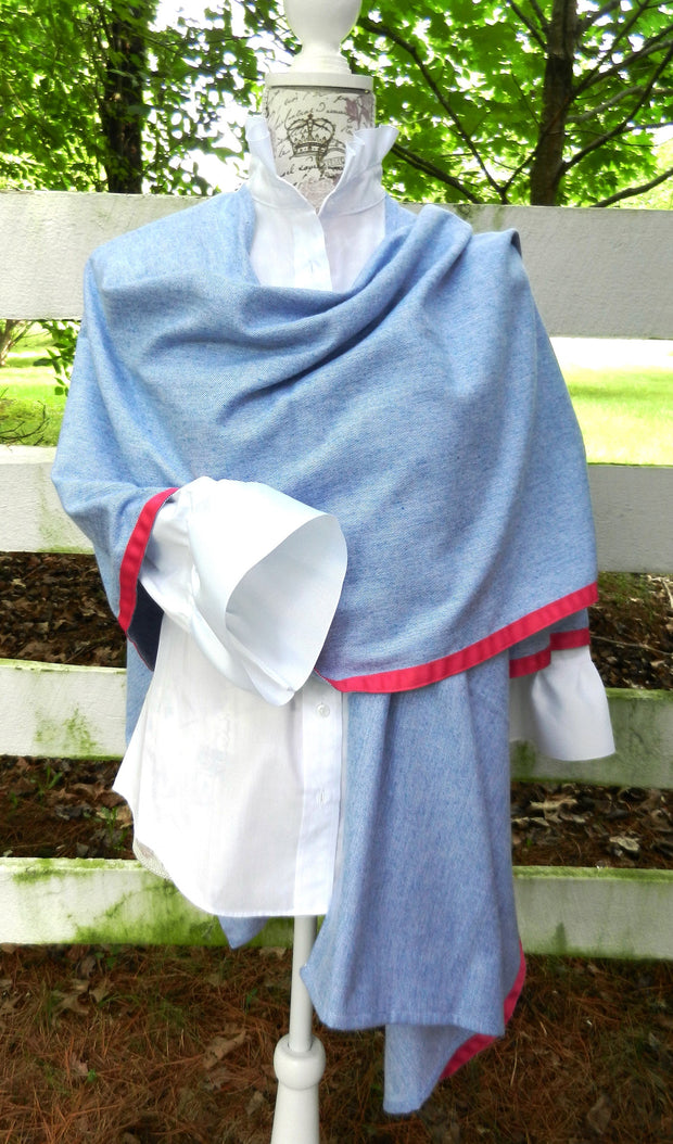 Cotton Cape in Denim with Pink Ribbon