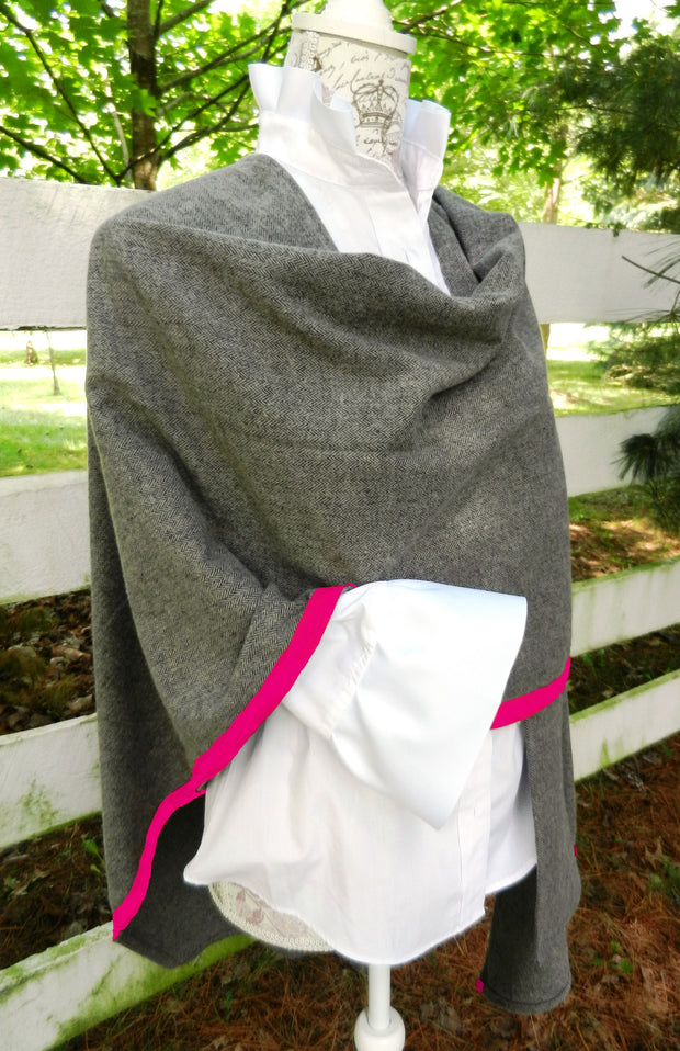 Cotton Cape in Grey Herringbone with Pink Ribbon
