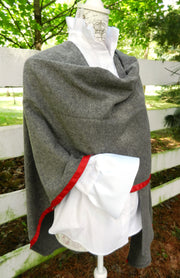 Cotton Cape in Grey Houndstooth with Red Ribbon