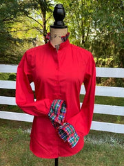 Red Long Sleeve Plaid Ribbon Shirt - (HR 02)