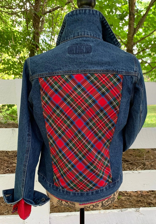 Denim Jacket w Red Plaid (Red DJ 02)