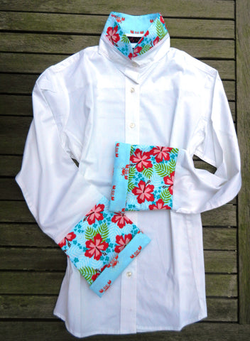 Bell Sleeve Shirt with Hawaiian Floral (LB26) - SALE - was $119.00, now $89.00