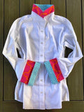 Bell Sleeve Shirt- White Shirt with Pink Org Turq Dots (B05)