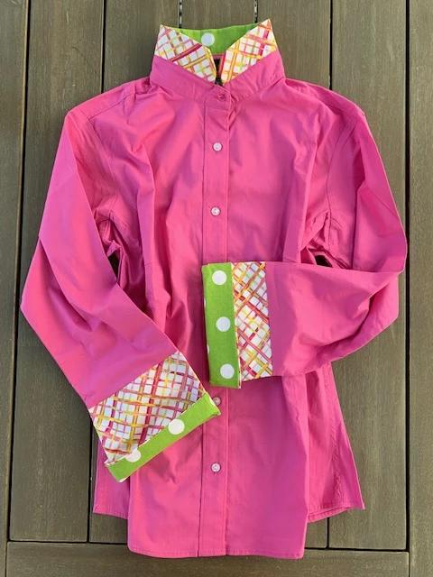 Bell Sleeve Shirt - Pink button down with colorful details(B02)