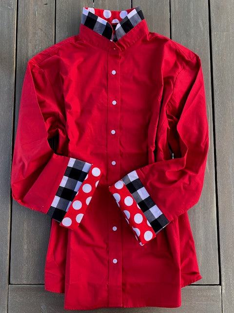 Bell Sleeve Shirt- Red Shirt with black and red details (B03)