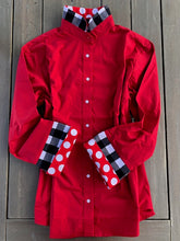 Load image into Gallery viewer, Bell Sleeve Shirt- Red Shirt with black and red details (B03)