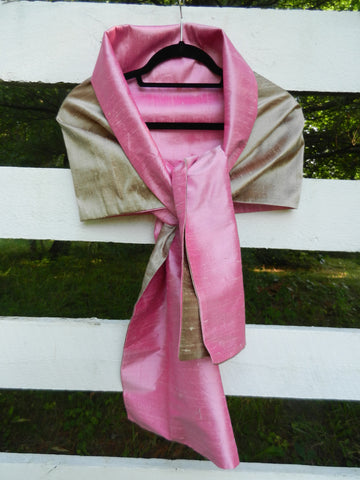 Silk Wrap in Khaki and Blush Pink (LW14)